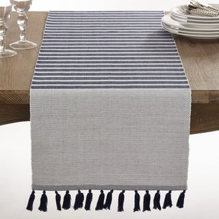 Bellaria Collection Ribbed Tassel Design Reversible Table Runner