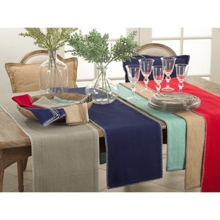 Link to Celena Collection Whip Stitched Design Cotton Table Runner Similar Items in Table Linens & Decor