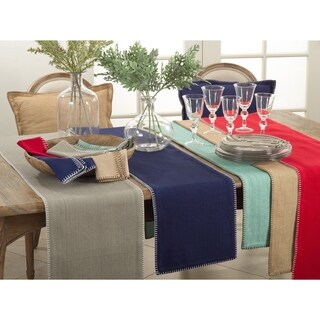 Celena Collection Whip Stitched Design Cotton Table Runner