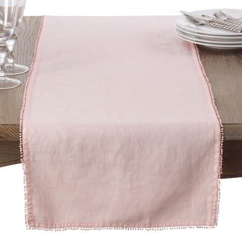 Pompom Design Linen Dining Room Table Runner