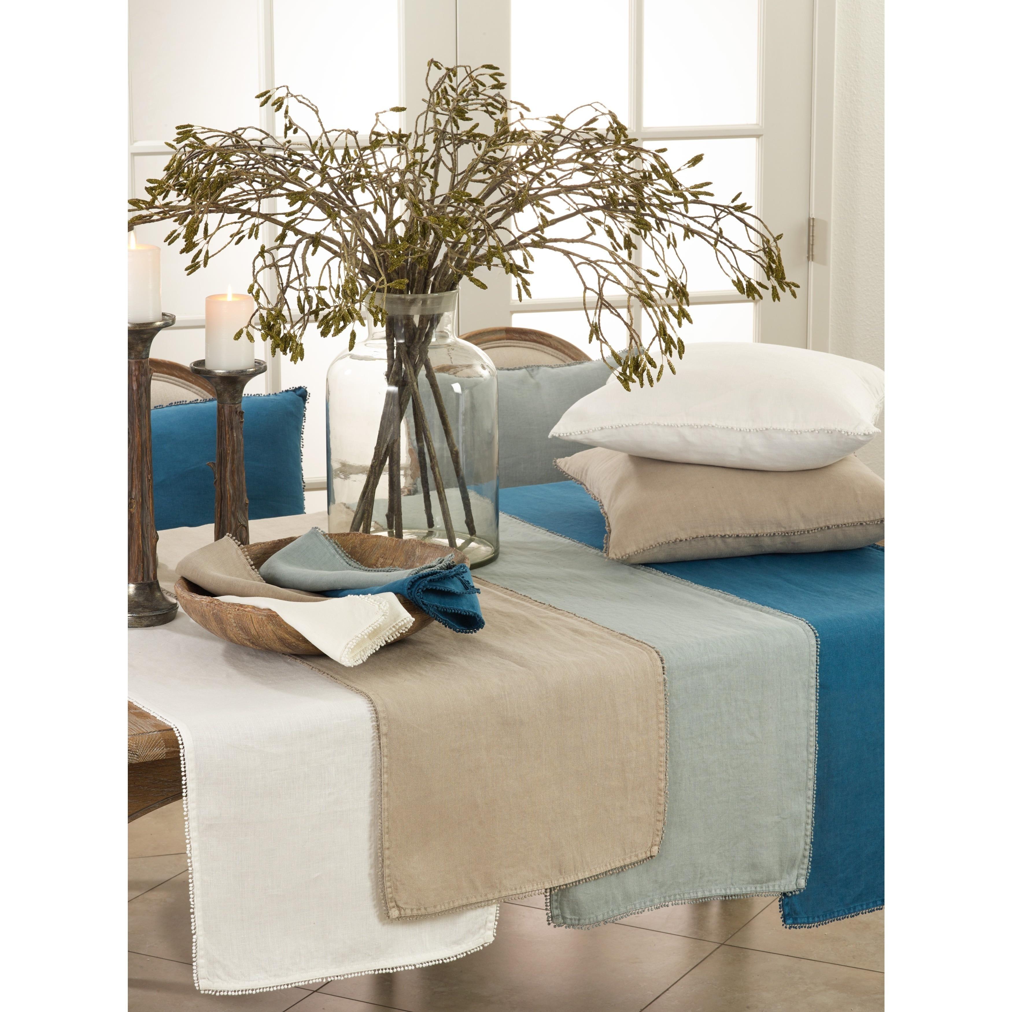 Details about Pompom Design Linen Dining Room Table Runner