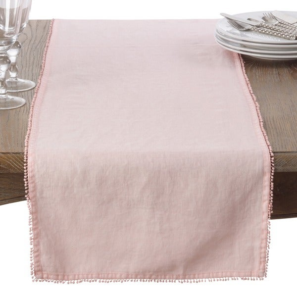 Dining Room Table Runner: Shop Pompom Design Linen Dining Room Table Runner