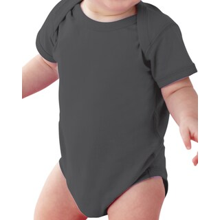 Rabbit Skins Infant Charcoal Fine Jersey Lap Shoulder Bodysuit