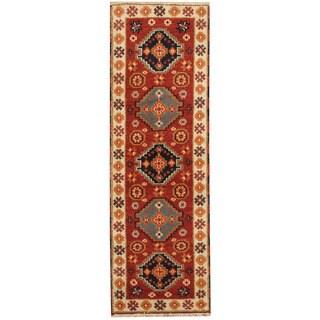 Herat Oriental Indo Hand-knotted Kazak Wool Runner (2'2 x 6'5)