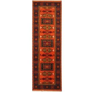 Herat Oriental Indo Hand-knotted Kazak Wool Runner (2'2 x 6'8)