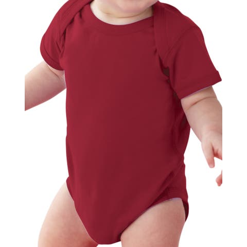 Rabbit Skins Infants' Red Cotton Jersey Lap Shoulder Bodysuit