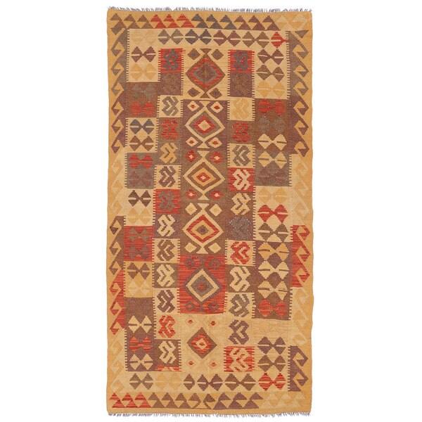 Handmade Herat Oriental Afghan Mimana Wool Kilim (Afghanistan) - 3'3 x 6'7