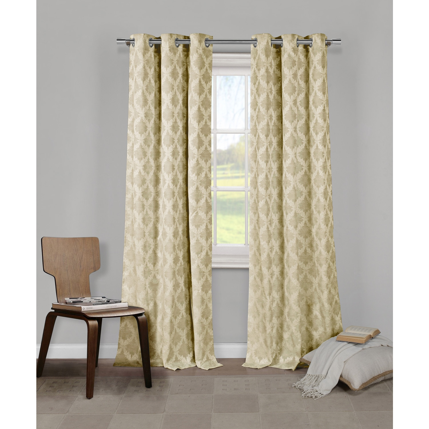 Duck River Damasco Grommet Curtain Panel Pair (Taupe), Br...