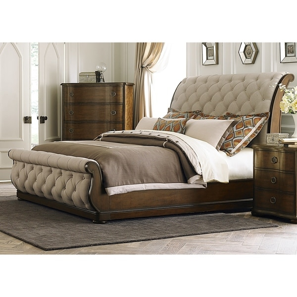 Gracewood Hollow Chimsoro Tufted Linen Upholstered Sleigh Bed