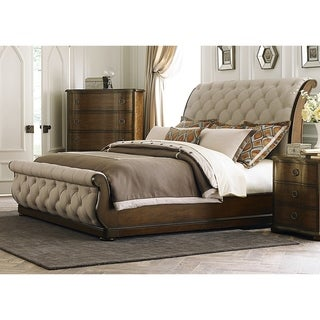 Gracewood Hollow Angelou Tufted Linen Upholstered Sleighbed (2 options available)