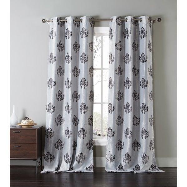 Duck River Grey Damask Grommet Blackout Curtain Panel Pair