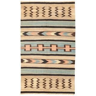 Herat Oriental Afghan Hand-woven Mimana Wool Kilim (5'1 x 8'10)