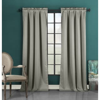Duck River Grey Polyester Solid Blackout Rod Pocket Curtain Panel