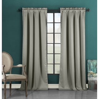 Duck River Grey Solid Blackout Rod Pocket Curtain Panel
