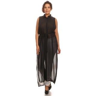Hadari Woman Plus Size Sleeveless Sheer Tunic