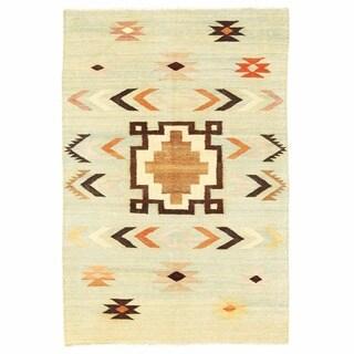Herat Oriental Afghan Hand-woven Mimana Wool Kilim (5'3 x 7'11)