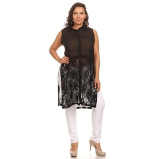Hadari Woman Plus size Long sheet tunic with lace design