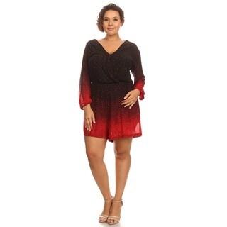 Hadari Woman's plus size long sleeve night romper