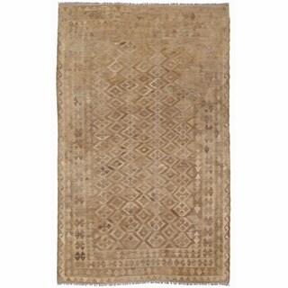 Herat Oriental Afghan Hand-woven Mimana Wool Kilim (5'1 x 8')