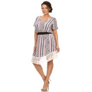 Hadari Woman plus size tribal print with fring short summer dress dress
