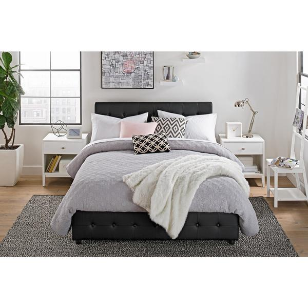 Shop DHP Cambridge Black Faux Leather Upholstered Bed with Storage ...