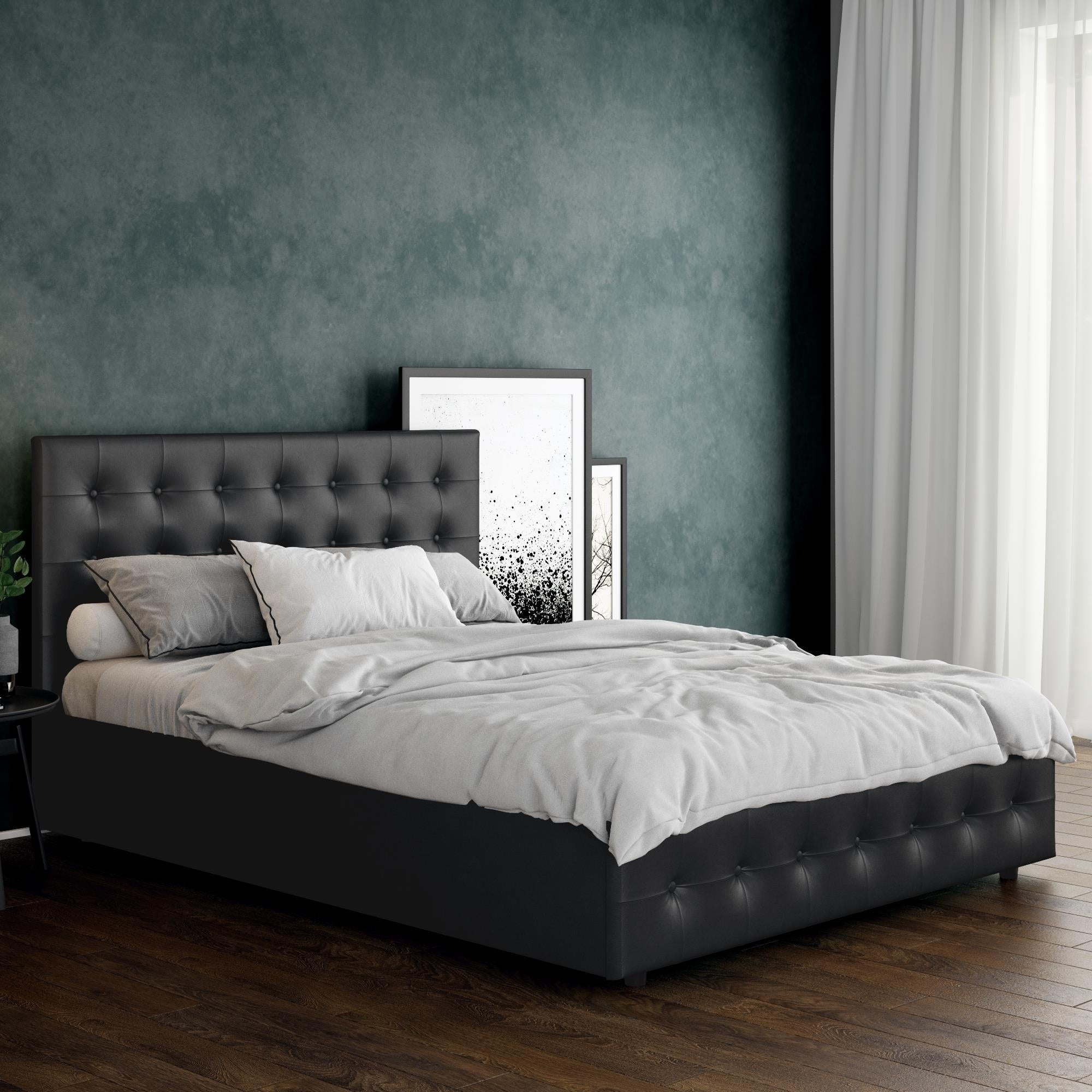 DHP Cambridge Black Faux Leather Upholstered Bed with Sto...
