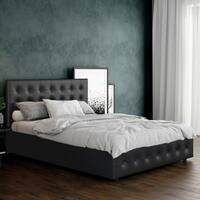 562ddb797bb0 Shop DHP Cambridge Grey Linen Upholstered Bed with Storage - Free ...