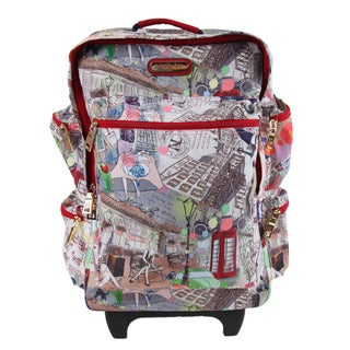 Nicole Lee Kailey City Look Multicolor Nylon/Polyester 21-inch Rolling Carry-on Fashion Upright Suitcase