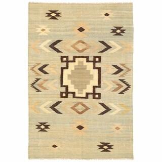 Herat Oriental Afghan Hand-woven Mimana Wool Kilim (5'5 x 8'2)
