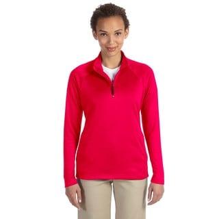 Stretch Women's Red Tech-Shell Compass Quarter-zip Shirt