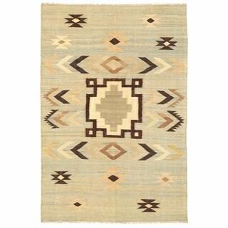 Herat Oriental Afghan Hand-woven Mimana Wool Kilim (5'6 x 8'3)