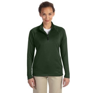 Women's Tech-Shell Forest Green Polyester Stretch Compass Quarter-zip Heather