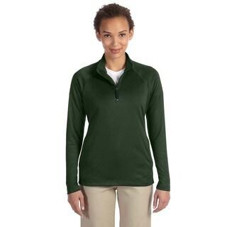 Women's Tech-Shell Forest Green Polyester Stretch Compass Quarter-zip Heather