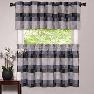 Black Cotton Blend Classic Checkered Decorative Window Curtain Separates Tier Pair or Valance