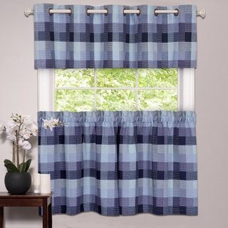 Classic Checkered Blue Decorative Window Curtain Separates with Tier Pair and Valance Options