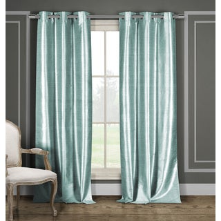 Duck River Solid Faux Silk Polyester Grommet Curtain Panel Pair