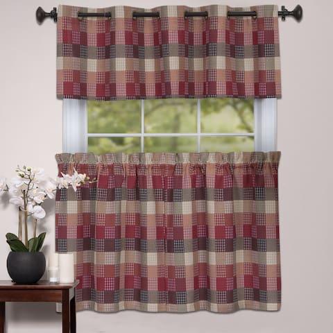 Burgundy Cotton Blend Classic Checkered Decorative Window Curtain Separates Tier Pair