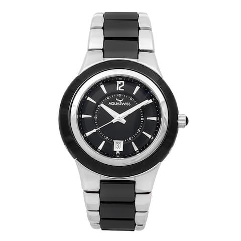 Aquaswiss Unisex Black, Silver Ceramic, Stainless Steel Quartz Watch