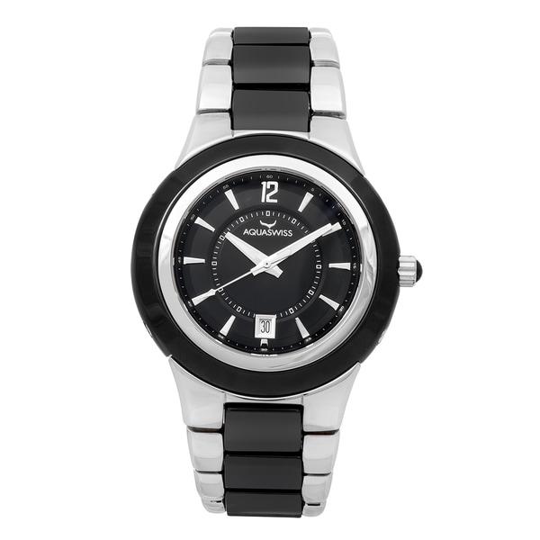 Aquaswiss Unisex Black, Silver Ceramic, Stainless Steel Quartz Watch. Opens flyout.