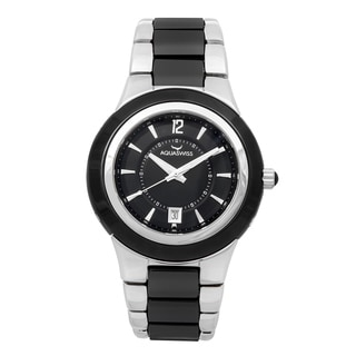 Aquaswiss Unisex Black, Silver Ceramic, Stainless Steel Quartz Watch