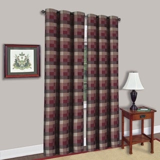 Burgundy Cotton Blend 42-inch x 84-inch Classic Checkered Decorative Window Panel