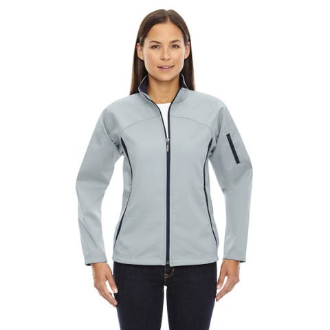 Women's Opal Blue Polyester Fleece Bonded 3-layer Performance Soft-shell Jacket