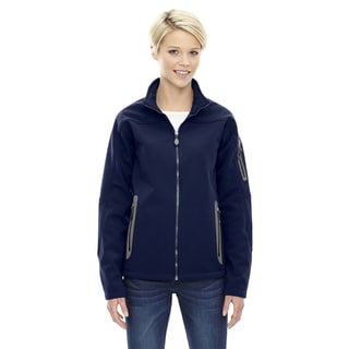 Women's Navy Polyester Fleece Bonded 3-layer Soft-shell Technical Jacket