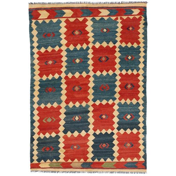 Handmade Herat Oriental Afghan Mimana Wool Kilim (Afghanistan) - 4'8 x 6'9