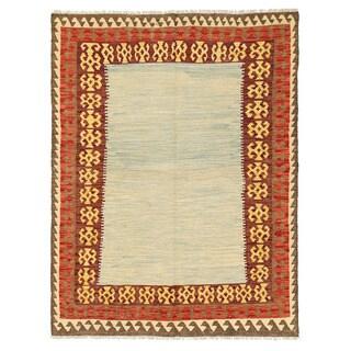 Herat Oriental Afghan Hand-woven Mimana Wool Kilim (4'10 x 6'6)