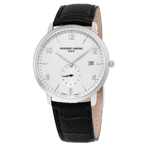 Frederique Constant Men's 'Slim Line' White Dial Black Leather Strap Small Seconds Swiss Quartz Watch