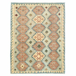 Herat Oriental Afghan Hand-woven Mimana Wool Kilim (5' x 6'5)
