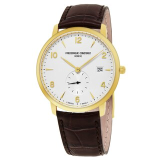 Frederique Constant Men's FC-245VA5S5 'Slim Line' White Dial Brown Leather Strap Small Seconds Swiss Quartz Watch