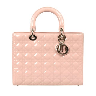 Lady Dior Patent Leather Bag in Pink w/ Silver Hardware