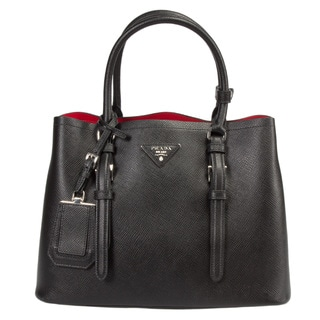 Prada Double Small Black w/Gold Hardware Saffiano Leather Tote